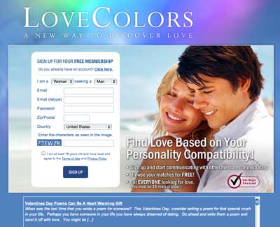 Dating website colors