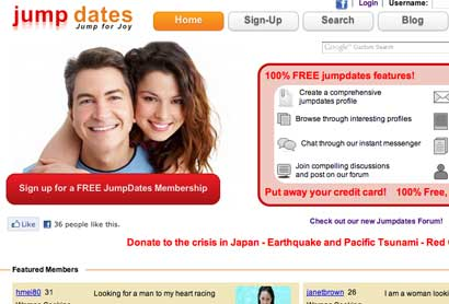 jumpdates dating website as it appears in chrome, safari, ie explorer