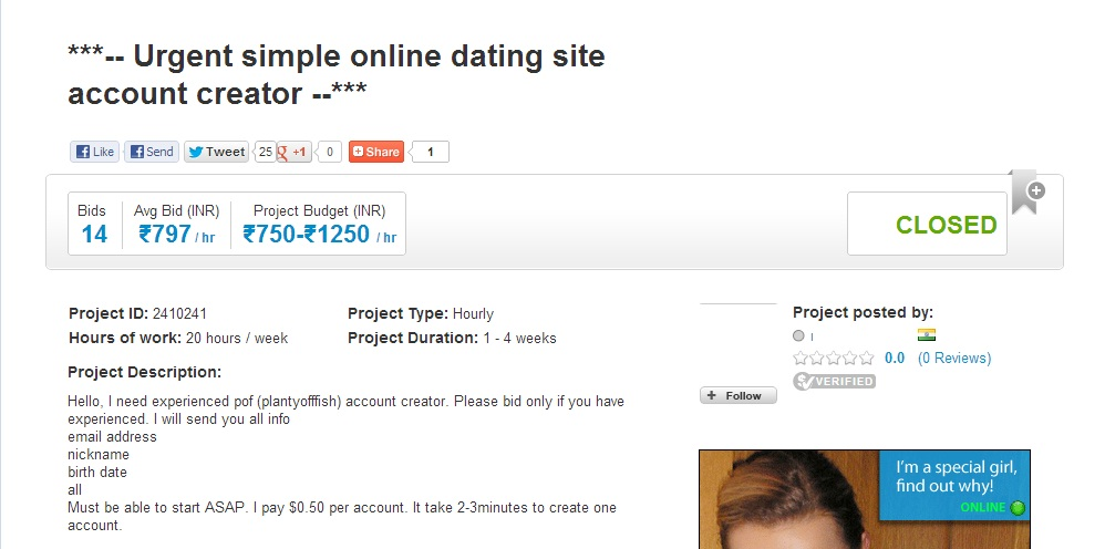 Online dating outsourcing